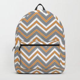 Chevron Pattern | Orange Grey Black White Backpack