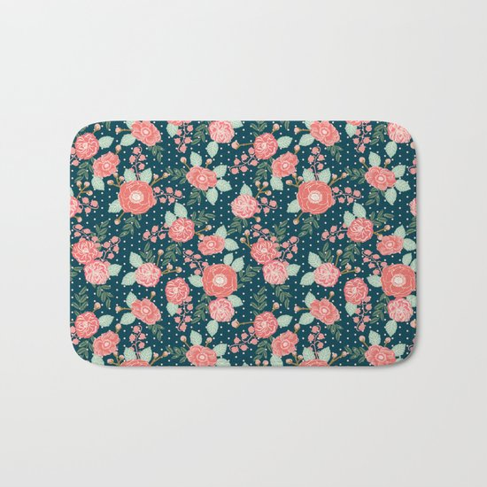Florals boho modern watercolor blooming blossom garden nature summer spring navy pink white Bath Mat