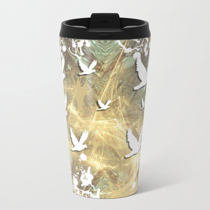 Birds on beige messy kaleidoscope Metal Travel Mug