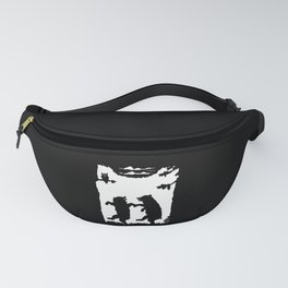 Two Dancing Bears Trees Owl Black Silhouette on White Fanny Pack