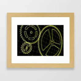 Set of yellow gears and cogs on virtual screen Framed Art Print