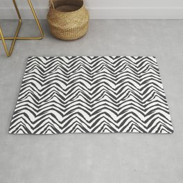 Zebra stripes minimal black and white modern pattern basic home dorm decor nursery Rug
