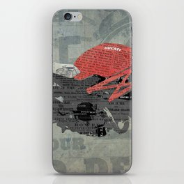 Red motorcycle newspaper collage, now is the time, original abstract artwork iPhone Skin