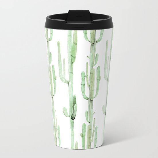 Arizona Wilderness Cactus Green Pattern Metal Travel Mug