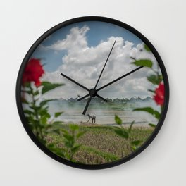 Toil Framed With Flowers Wall Clock