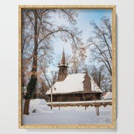 Winter Wonderland at the Village Museum in Bucharest Serving Tray