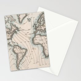 Vintage Map of The Worlds Magnetic Fields (1852) Stationery Cards