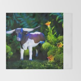 A Steer Cattle Cow at Night Throw Blanket