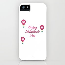 Happy Valentine's Day Love Heart Balloons iPhone Case