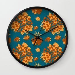 Bold abstract flowers and shapes pattern Wall Clock