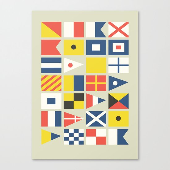 Geometric Nautical flag and pennant Canvas Print