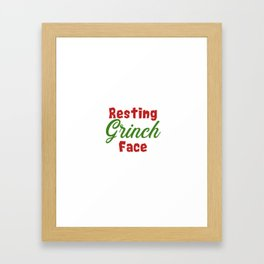 Resting Grinch Face - Christmas Xmas festive design Framed Art Print