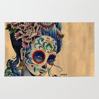 fitzgerald Area & Throw Rugs featuring Marie de los Muertos by Cathy FitzGerald