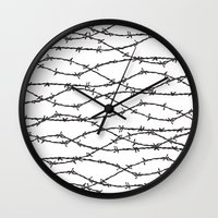the wire Wall Clocks featuring Barbed Wire by Elena O'Neill