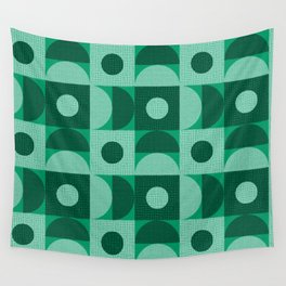 Textured Mid-century Circles No.12 Black White Green Wall Tapestry