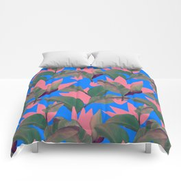 Retro Luxe Lilies Electric Blue Pattern Comforters