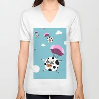 cows V-neck T-shirts featuring flying cows by vitamin