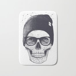 Grey Skull in a hat Bath Mat
