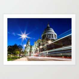 St Paul's Traffic Trails Art Print