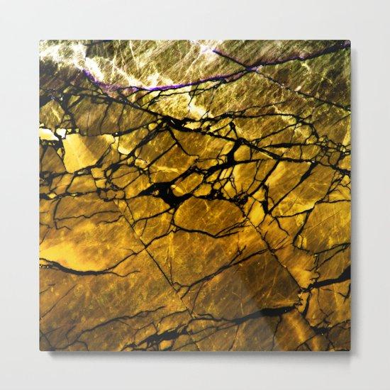 Gold Labradorite Crystal Metal Print