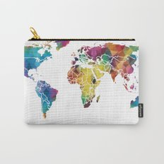 Geometric World Map Carry-All Pouch