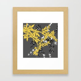 TREE BRANCHES YELLOW GRAY  AND BLACK LEAVES AND BERRIES Framed Art Print