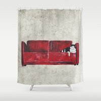 sofa Shower Curtains featuring cat in a red sofa  by memories warehouse by @aikogg