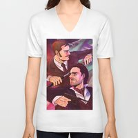 johnlock V-neck T-shirts featuring Watson and Holmes by Krusca