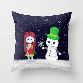 Snowman Jack and Sally with Poinsettia Throw Pillow
