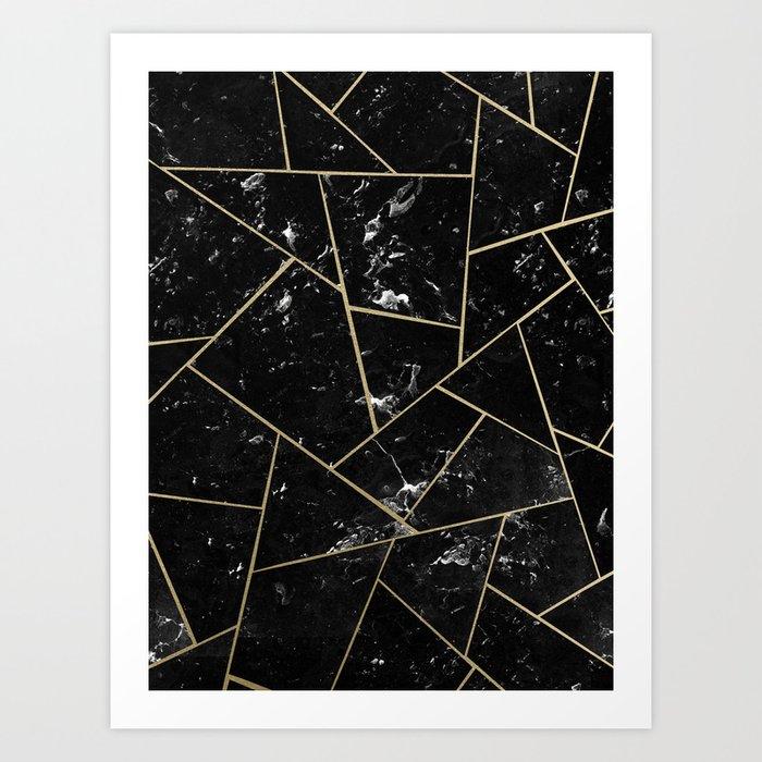 Black Marble Gold Geometric Glam #1 #geo #decor #art #society6 Kunstdrucke