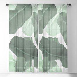 Green Banana Leaf Sheer Curtain