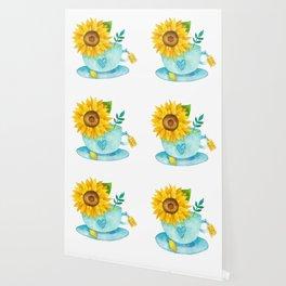 Sunflower Cup of Tea Wallpaper