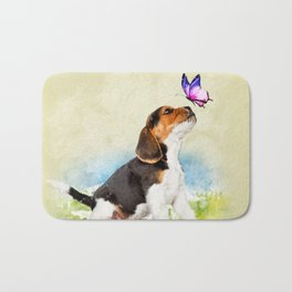 Beagle puppy with butterfly Bath Mat