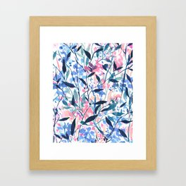Wandering Wildflowers Blue Framed Art Print
