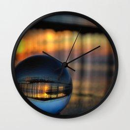 Avila Pier Captured in a crystal ball at sunrise Wall Clock