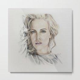 Charlize Theron artwork portrait Metal Print