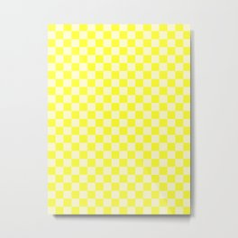 Cream Yellow and Electric Yellow Checkerboard Metal Print