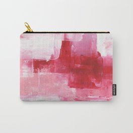 Ejaaz Haniff Abstract Acrylic Palette Knife Painting Red Pink Hues: 'Heart Beat' Carry-All Pouch