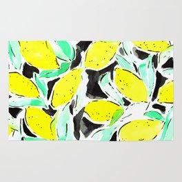 Bold Lemons Black Rug