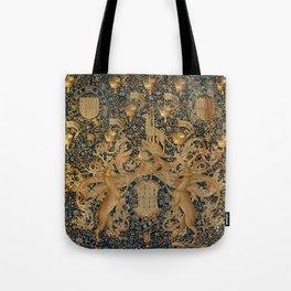 Vintage Golden Deer and Royal Crest Design (1501) Tote Bag
