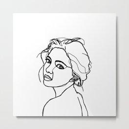 Woman's face line drawing - Adena Metal Print