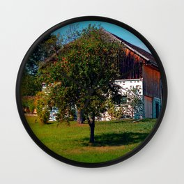 The tree and the farm Wall Clock