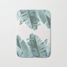 Blue Tropical Banana Leaf Plant Bath Mat
