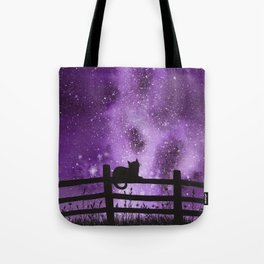 Night full of Sky Purple Watercolor Galaxy Painting Tote Bag