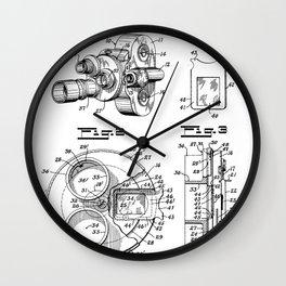 Movie Camera Patent - Film Camera Art - Black And White Wall Clock