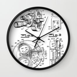 Movie Camera Patent - Film Camera Art - Black And White Wall Clock