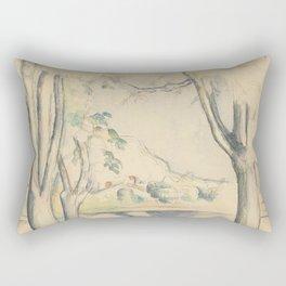 Mont Sainte-Victoire Seen beyond Wall Enhanced Vintage Watercolor Rectangular Pillow