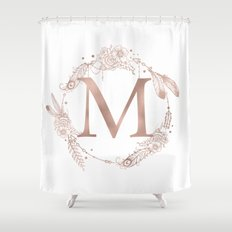 Letter M Rose Gold Pink Initial Monogram Shower Curtain