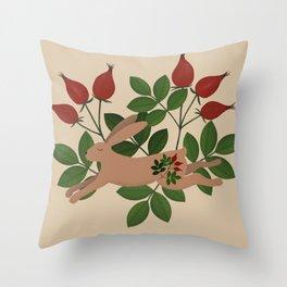 Leaping Brown Hare Folk Art Throw Pillow