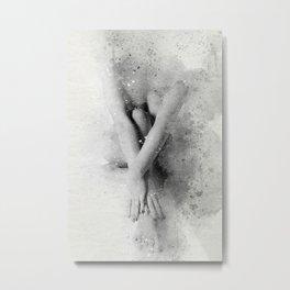 Naked Yoga Watercolor Metal Print